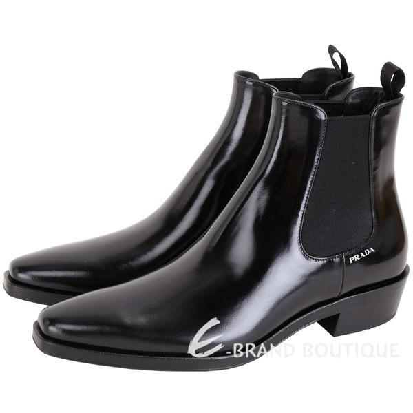 PRADA Spazzolato 漆亮小牛皮短靴(女款/黑色) 1840577-01
