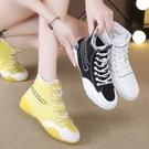 高筒鞋 女士高幫鞋網面透氣小白鞋2021春秋季新款帆布果凍嘻哈高邦女鞋潮