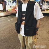 馬甲 男裝韓國風潮男背心黑色夏季日繫工裝馬甲  潮先生