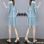 孕婦裝夏裝孕婦雪紡純色洋裝中長款寬鬆時尚大碼拼接潮媽孕婦裙艾美時尚衣櫥