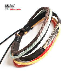五彩繩皮手鏈 情侶飾品