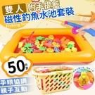 磁性釣魚水池套裝(附手提籃50件套)←童樂會 釣魚 磁性 手眼 協調 撈魚 感覺 統合 娃娃機 童趣