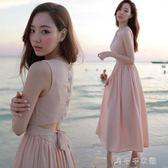 沙灘裙女露背仙氣性感顯瘦長裙海邊度假無袖背心雪紡洋裝消費滿一千現折一百