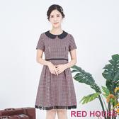 RED HOUSE-蕾赫斯-小圓領毛料洋裝(粉色)
