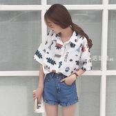 polo衫 夏季韓版學院風可愛寬松Polo領卡通印花襯衫女學生插肩袖襯衣上衣·夏茉生活