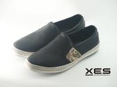 XES 時尚夏季草織邊休閒鞋 特殊點壓紋 男款/黑色
