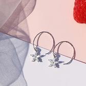 S925銀耳環女氣質韓國個性百搭長款耳釘星星簡約耳墜學生耳飾 居享優品