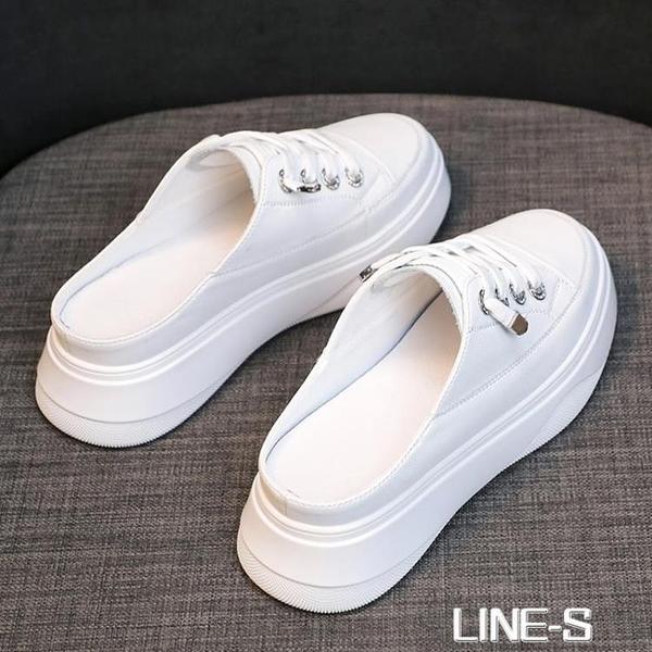 無后跟小白鞋女2021春季新款網紅韓版百搭包頭半拖厚底單鞋懶人鞋 【米娜小鋪】