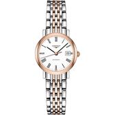 LONGINES 浪琴 Elegant 優雅系列羅馬機械女錶-白x雙色版/25.5mm L43095117