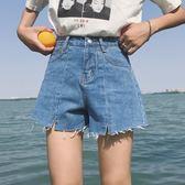 【618好康又一發】高腰女生牛仔短褲 毛邊闊腿褲寬鬆女短褲