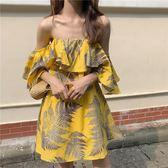 夏季新品荷葉邊甜美氣質百搭復古chic時尚一字肩漏肩中長款洋裝 草莓妞妞
