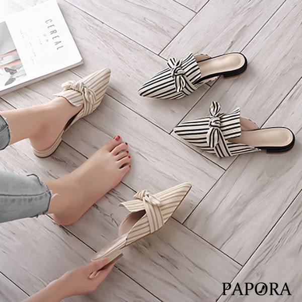 PAPORA條紋尖頭小結穆勒拖鞋KE181米/黑
