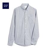 Gap男裝 基礎款純棉長袖休閒襯衫 500049-深藍色