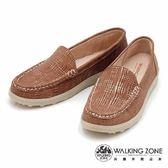 WALKING ZONE 線條混搭色直套懶人鞋女鞋-咖