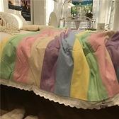 條紋彩虹北歐簡約雙人夏涼被夏季薄被子空調被被芯少女心花邊【愛物及屋】