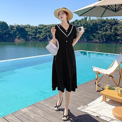 洋裝~9265#法式復古小眾赫本黑色連身裙女夏v領收腰遮肚子顯瘦氣質H352胖妞衣櫥