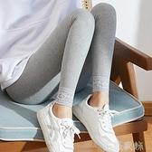 蕾絲打底褲 春秋薄款日系打底褲女蕾絲花邊螺紋外穿高腰大碼彈力顯瘦純棉長褲