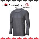 【EasyMain 男 高效能快乾保暖T恤《火山黑》】TE18079-09/保暖上衣/保暖衣/中層衣/透氣保暖/登山