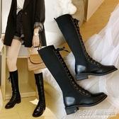 騎士長靴女秋冬新款厚底高筒靴不過膝及裸靴網紅瘦瘦彈力襪靴『新佰數位屋』