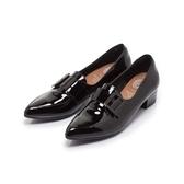 【Fair Lady】小時光.方釦釦帶尖頭低跟樂福鞋 漆黑