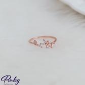 戒指 韓國直送‧水鑽葉片指環戒指-Ruby s 露比午茶