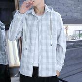 男長袖襯衫 格紋襯衫 男士連帽長袖格子襯衫男潮流帥氣復古寬鬆青年休閒襯衣韓版男裝上衣cs2679