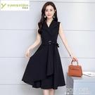 2021年夏季棉麻連身裙V領女新款高端氣質無袖顯瘦寬鬆收腰中長款 夏季新品