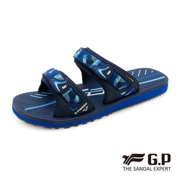 【南紡購物中心】G.P (男) 簡約織帶風格雙帶拖鞋-藍 (另有黑)