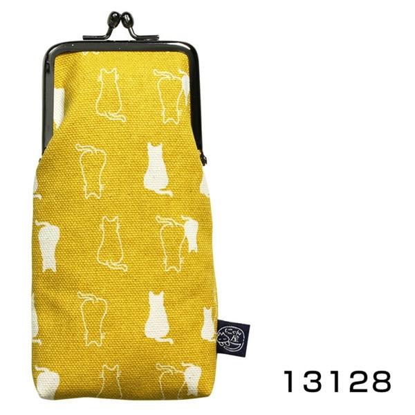 【日本製】貓帆布系列 口金眼鏡包 親子貓咪圖案 芥末黃 SD-7053 - 日本製 貓帆布系列