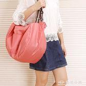 便攜可摺疊購物袋帆布手提袋子防水環保袋大容量包雙肩旅行收納袋  台北日光