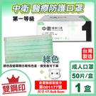 中衛 CSD 雙鋼印 成人醫療口罩 醫用口罩 (綠色) 50入/盒 (台灣製造 CNS14774)專品藥局【2016923】