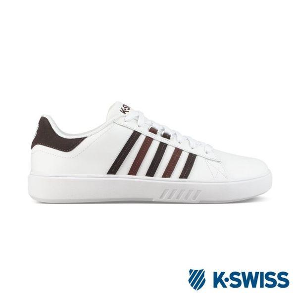 【K-SWISS】Pershing Court CMF休閒運動鞋-男-白/咖啡(05643-118)