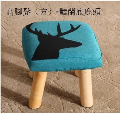 小板凳子卡通換鞋矮凳實木布藝創意兒童成人小椅子沙發方凳(主圖款高腳凳(方)-豔蘭底鹿頭)