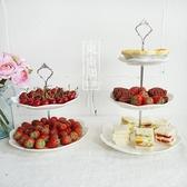 水果盤 純白陶瓷雕花點心盤 上下雙層三層歐式精美下午茶點心架子【免運】