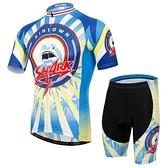 自行車衣-(短袖套裝)-時尚帥氣鯊魚排汗男單車服套裝73er56【時尚巴黎】