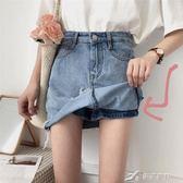 韓版百搭高腰顯瘦水洗做舊A字牛仔裙女學生半身裙裙子  樂芙美鞋