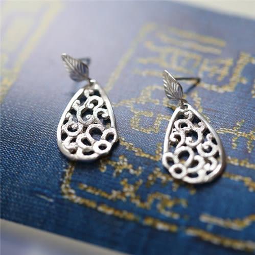 藝術素銀古典優雅鏤空花紋樹葉純銀耳墜
