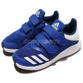 adidas 慢跑鞋 FortaRun CF K 藍 白 緩震舒適 魔鬼氈 運動鞋 童鞋 中童鞋【PUMP306】 BY8983