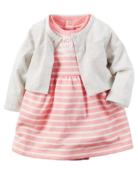 2件組短袖包屁連身洋裝+外套套裝組: 粉灰條紋: 121H130