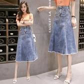 現貨 牛仔長裙胖mm大碼牛仔半身裙女200斤高腰顯瘦a字裙春新款中長裙子