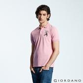 【GIORDANO】男裝勝利獅王漸層刺繡彈力萊卡POLO衫-45 雪花粉紅