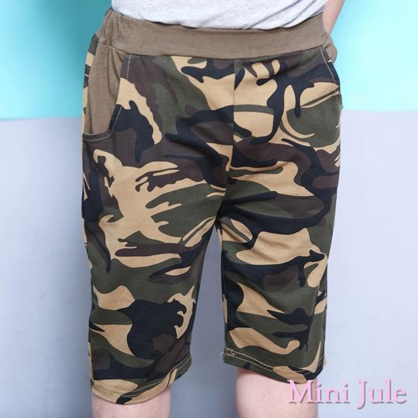 Mini Jule 男童 短褲 迷彩雙口袋鬆緊彈性五分褲(綠 )