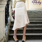 裙子 RCha。素色不規則荷葉魚尾長裙-Ruby s 露比午茶