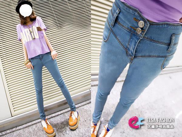 *艾爾莎*【TAC1480】復古高腰淺色鉛筆牛仔長褲