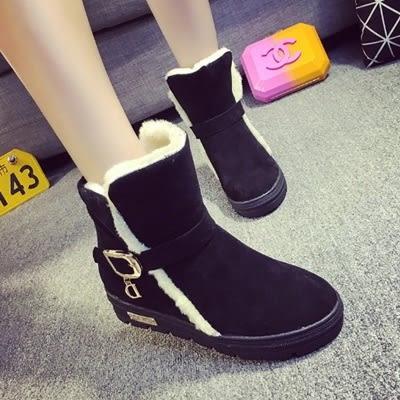 低筒雪靴-時尚氣質保暖皮帶扣女平底靴子3色73kg48[巴黎精品]
