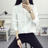 春裝新品小清新百搭白色襯衫女長袖寬鬆學院風娃娃領襯衣棉
