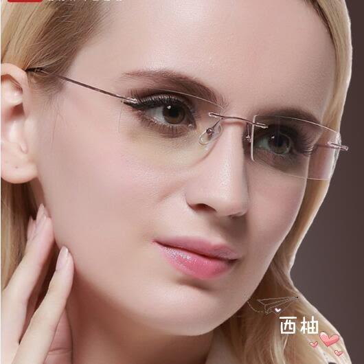 降價優惠兩天-鏡架無框眼鏡女超輕無邊框男?石切邊變色眼鏡框鈦合金大簡約鏡架