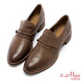 2.Maa 英倫紳士柔軟羊皮尖頭跟鞋 - 咖啡