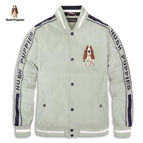 Hush Puppies 棒球外套 男裝立領品牌字母織帶拼接外套