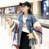 2018新款秋季韓版中長款原宿風拼接針織袖寬鬆百搭牛仔外套外套女